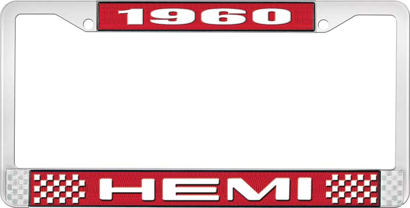 1960 Hemi License Plate Frame - Red and Chrome with White Lettering