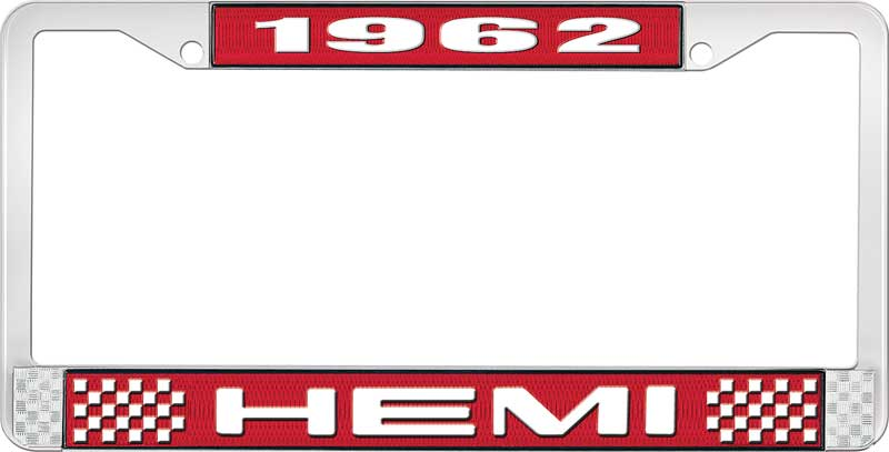 1962 Hemi License Plate Frame - Red and Chrome with White Lettering
