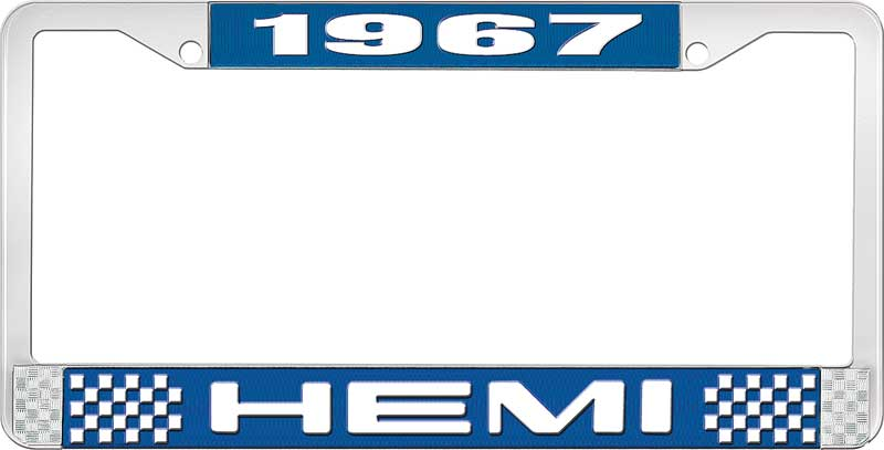 1967 Hemi License Plate Frame - Blue and Chrome with White Lettering