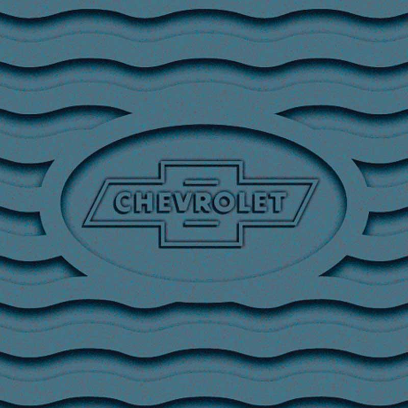 1955-56 Chevrolet Light Blue Factory Accessory Floor Mats with Chevrolet Bow Tie Logo