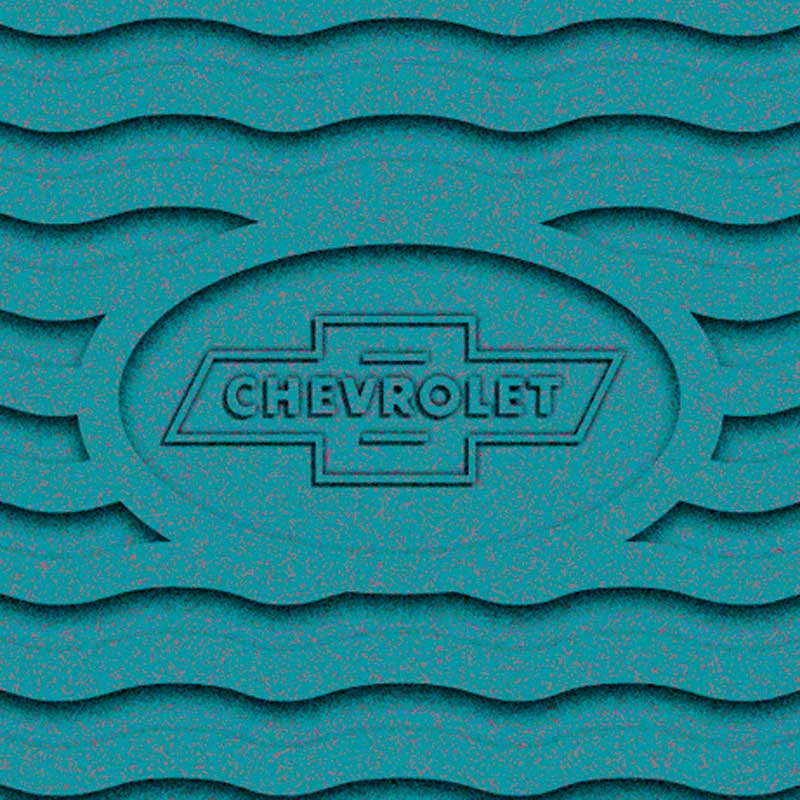 1955-56 Chevrolet Turquoise Factory Accessory Floor Mats with Chevrolet Bow Tie Logo