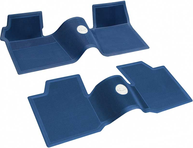 1961-64 Chevrolet Without Console Dark Blue 2 Piece Front And Rear Rubber Floor Mat Set