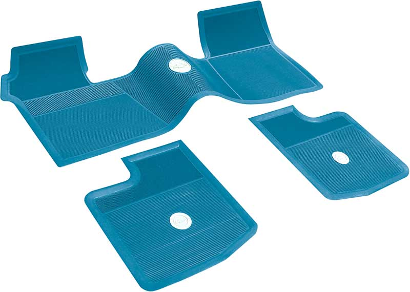 1962-65 Chevrolet Without Console Medium Blue 3 Piece Rubber Floor Mat Set