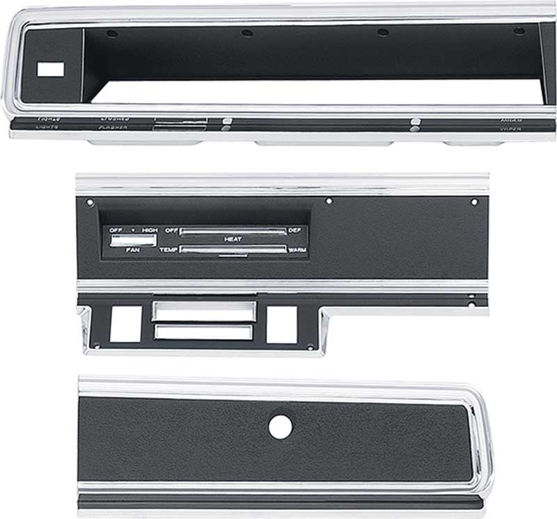 1967-69 Dart Without AC Dash Bezel / Glove Box Door Finish Plate Set