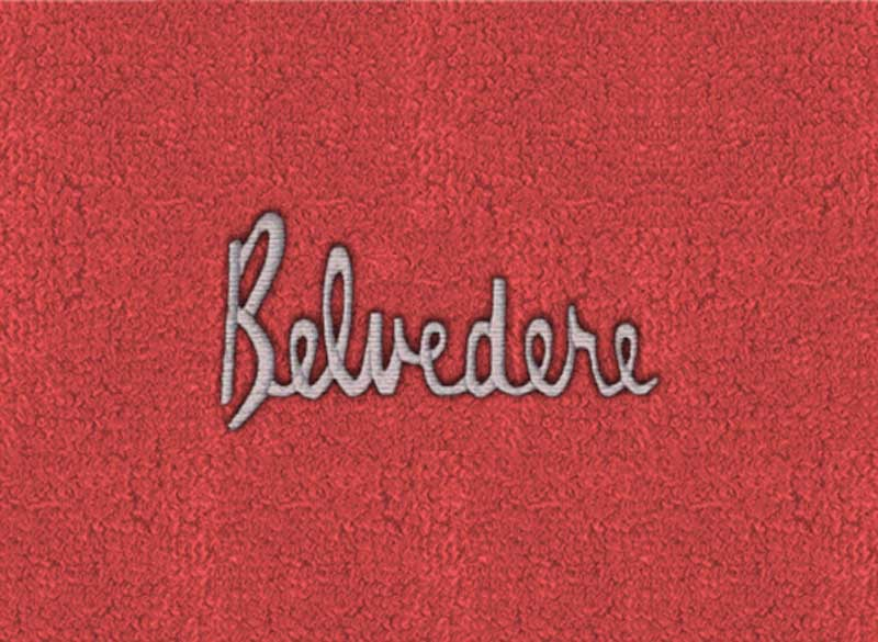 1966-69 Belvedere With 4-Speed Red Loop Floor Mats With Embroidered Belvedere Logo