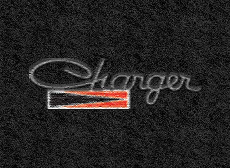 1966-70 Dodge Charger With Automatic Black Loop Floor Mats With Embroidered Charger Logo