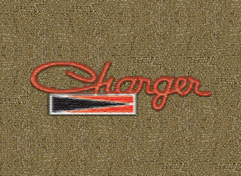 1971-72 Dodge Charger Dark Saddle Loop Floor Mats With Embroidered Charger Logo