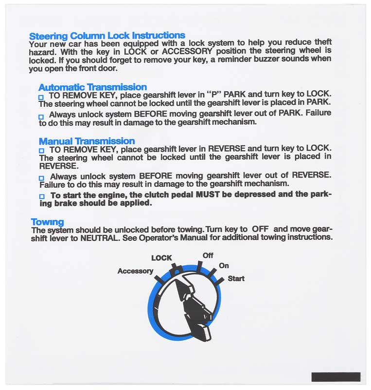 1970-1971 All Makes All Models Parts | MD4241 | 1970-71 Mopar E-Body  Steering Column Lock Instructions Tag | Classic Industries
