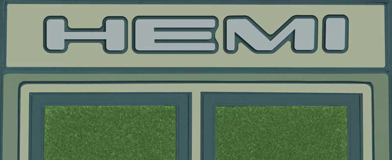 Hemi Logo Custom Molded Green Carpeted Rubber Floor Mat Set