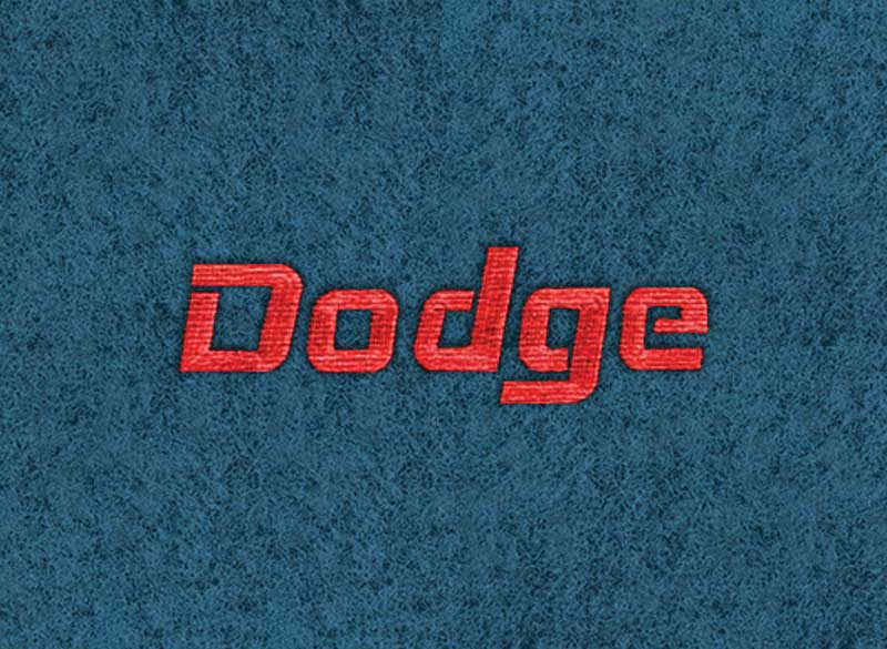 1974 Dodge Challenger Ocean Blue Cut Pile Floor Mats With Embroidered Dodge Script