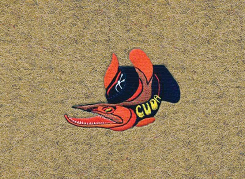 1974 Plymouth Cuda Gold Cut Pile Floor Mats With Embroidered Cuda On Wheels Logo