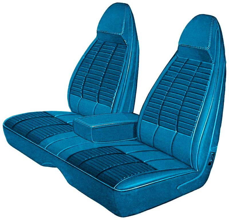1970 Challenger Bright Blue Regal / Coachman Vinyl Front Split Bench Seat Upholstery