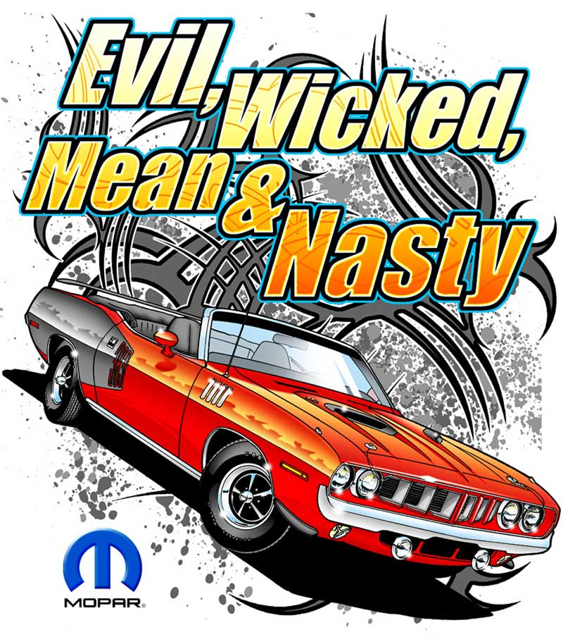 Mopar Evil Wicked Mean & Nasty Xx-Large Black T-Shirt