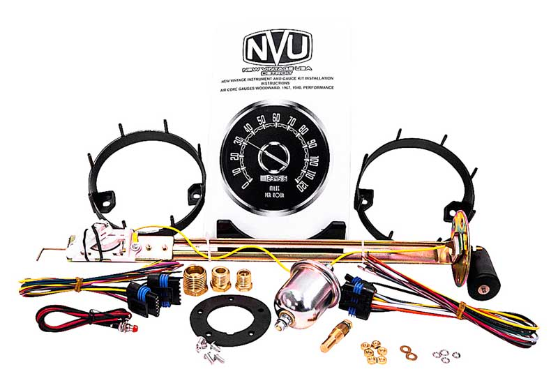1954-55 (1st Series) GM Truck New Vintage Woodward Series Black Speedometer/Tach and Quad Gauge Kit