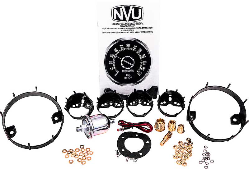 1964-66 GM Truck  New Vintage Performance Series Black Gauge Kit with Titanium Smoked Bezels