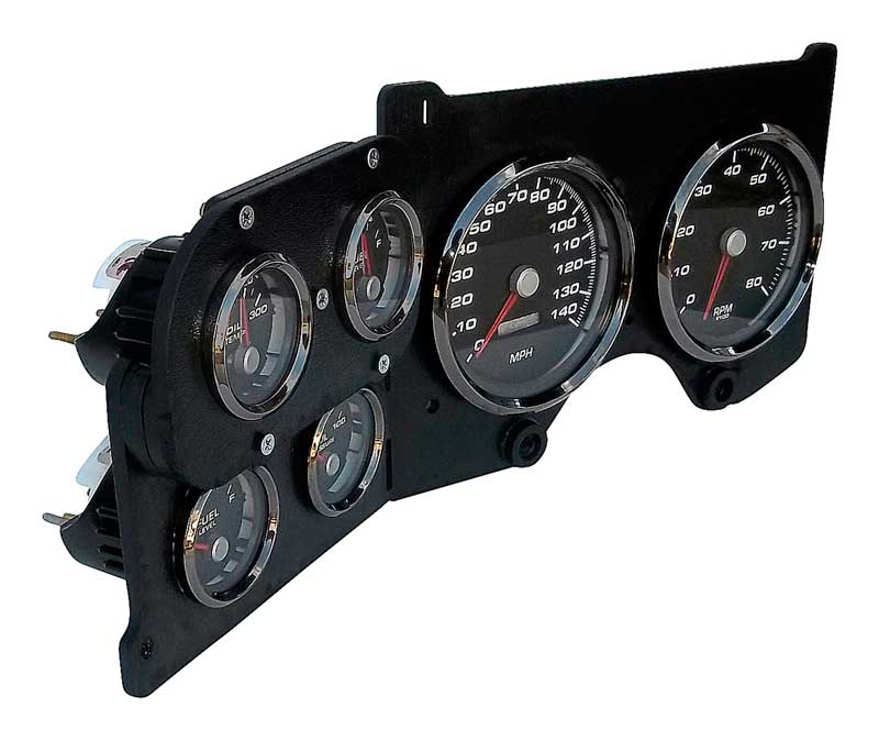 1973-87 GM Truck New Vintage Woodward Series Black Gauge Kit with Programmable Speedometer