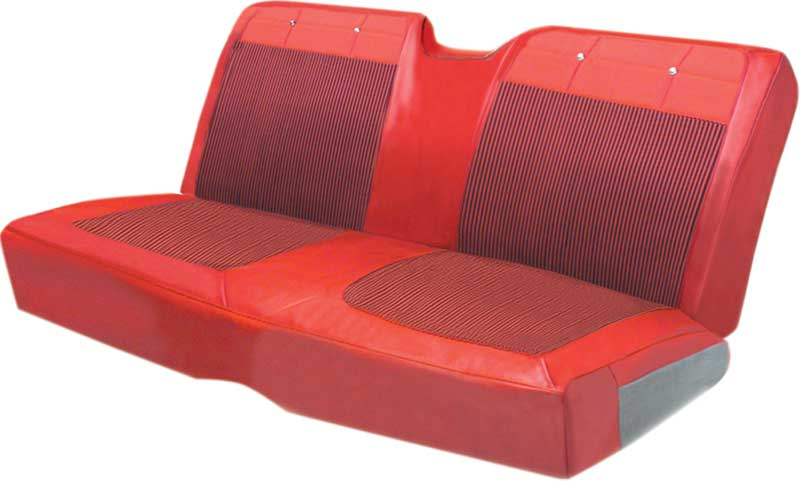 1962 Impala 2 Dr Hardtop With Split Bench Red & Black Cloth / Red Vinyl Upholstery Set