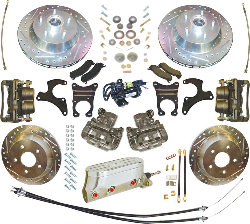 1967-74 Electronic Disc Brake Systems with EHPM, 13 Front, 12 Rear Drilled and Slotted Rotors