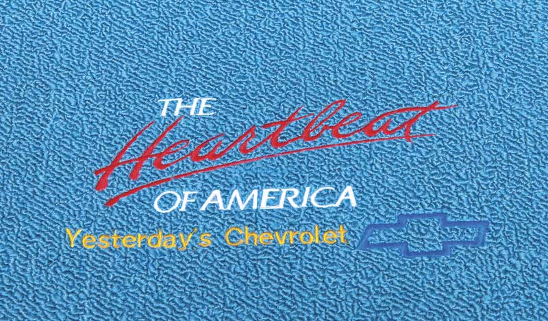 1953-70 Chevrolet Medium Blue Loop Floor Mats with Heartbeat Of America / Yesterdays Chevrolet Logo