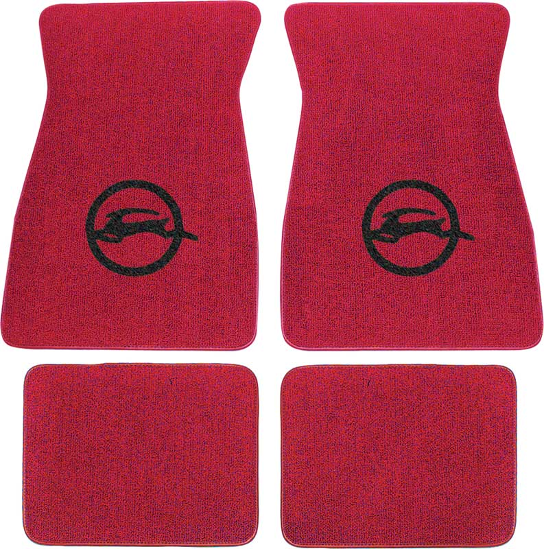 1971-73 Impala Red Loop Floor Mats With Black Impala Oval Logo