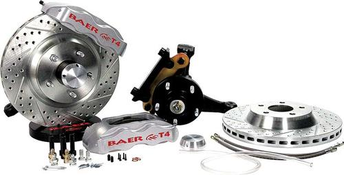 1978-87 Regal Baer 13 Track 4 Front Disc Brake Set with Modified Stock Spindles and Silver Calipers
