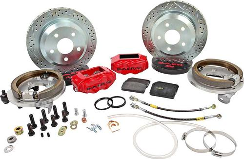 1978-87 Regal with Stock 10 Bolt Drum Baer 12 SS4 Rear Disc Brake Set with Red Calipers