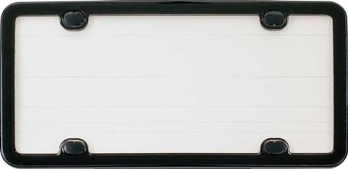 Black License Plate Frame with Clear Lens and 4 Mounting Holes