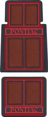 1964-92 Pontiac Carpet Floor Mat Set; Red / Black; 4 Piece Set