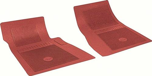 1967-81 Chevrolet Bow Tie Floor Mat Set; Front Mats; Red ; Pair