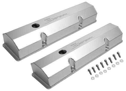 1958-86 Chevrolet 283-400 Sniper Fabricated Aluminum Valve Covers- Flat Top with Natural Finish