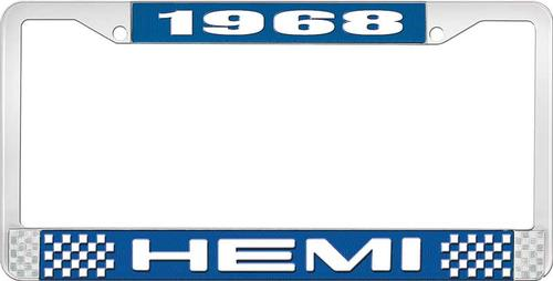 1968 Hemi License Plate Frame - Blue and Chrome with White Lettering