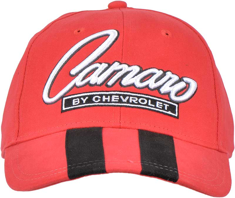 Red Camaro Logo Cap with Stripes