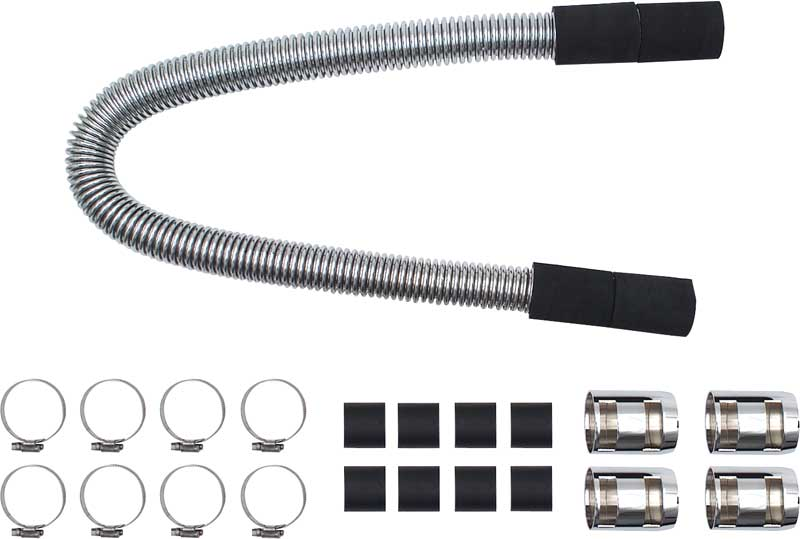 48 Flexible Stainless Radiator Hose Set with Chrome Ends