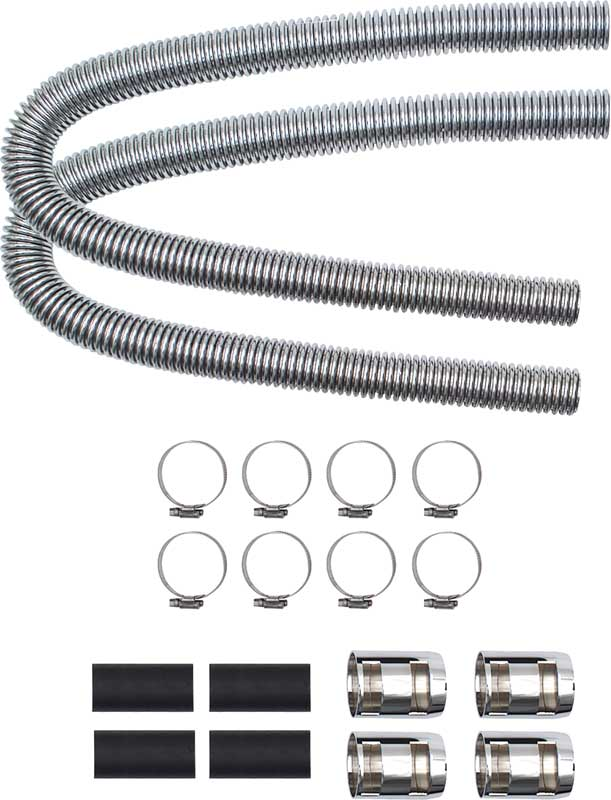Chrome Stainless Steel Flexible Heater Hose Set with Polished Ends
