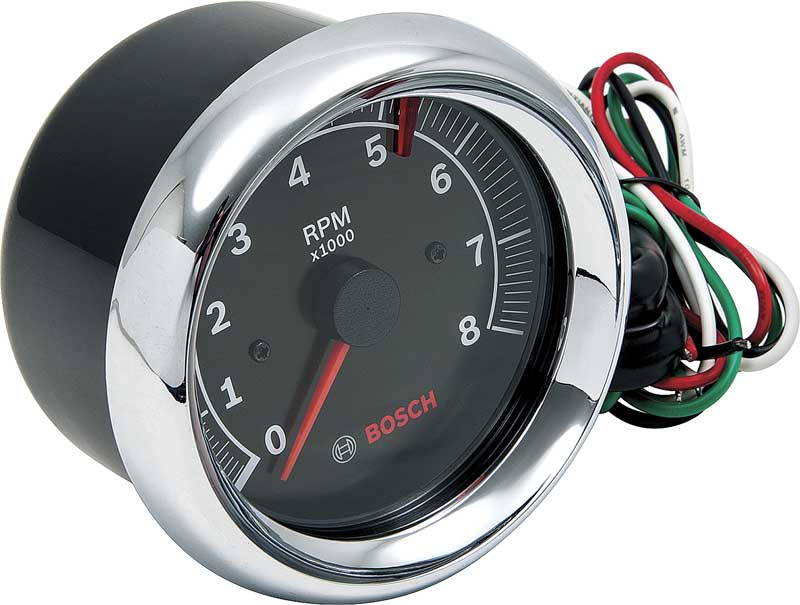 3-3/8 / 0-8,000 RPM Bosch Super Tach II Tachometer with Black Face and Chrome Bezel