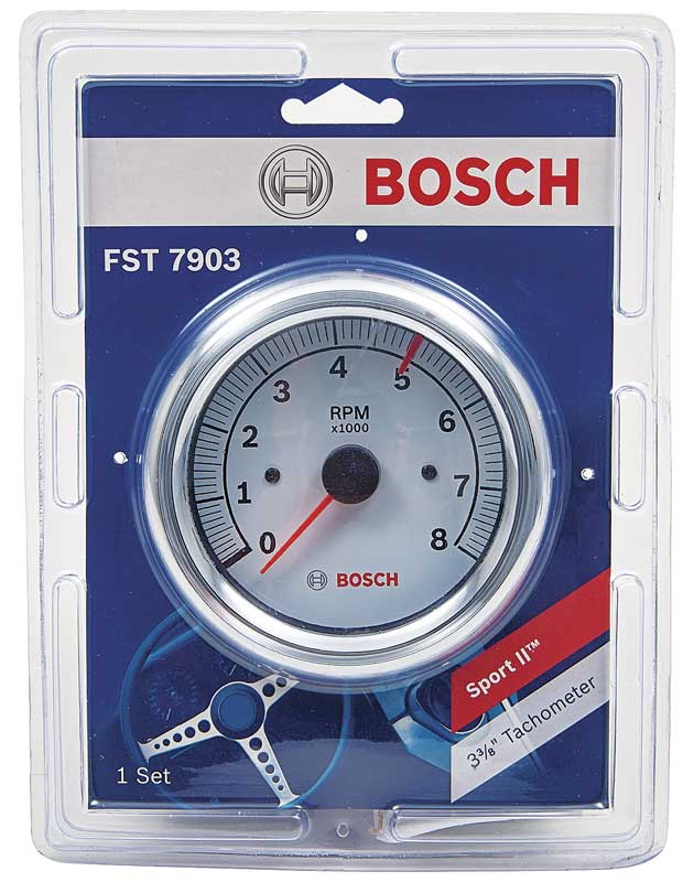 3-3/8 / 0-8,000 RPM Bosch Super Tach II Tachometer with White Face and Chrome Bezel
