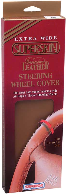 Tan Superskin® Extra Wide Leather Steering Wheel Cover