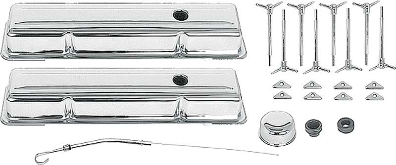 Chevrolet Small Block Chrome Engine Dress-Up Set with Low Profile Valve Covers & T-Bolts