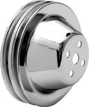 Small Block with Short Pump Chrome Double Groove Water Pump Pulley (6.4 O.D.)