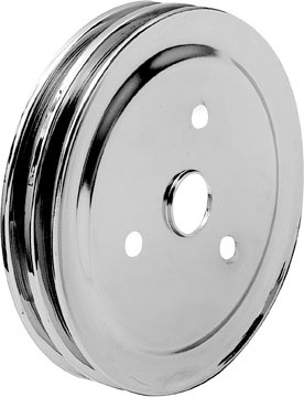 1955-68 Chrome Small Block Short Water Pump Double Groove 7-3/8 OD Crankshaft Pulley