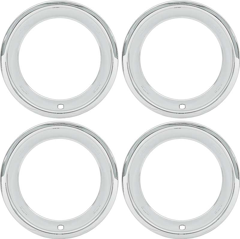 15 Chrome 2-7/8 Deep Round Lip Rally Wheel Trim Ring Set for Reproduction Wheels Only