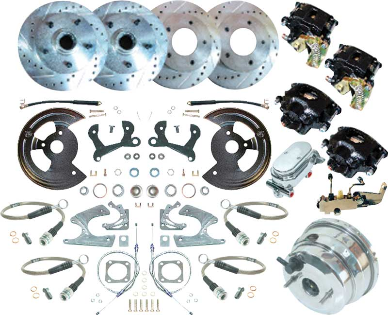 1959-64 Chevy 4 Wheel Power Disc Brake Conversion Set w/11 Drilled Rotors & Chrome Booster/Master