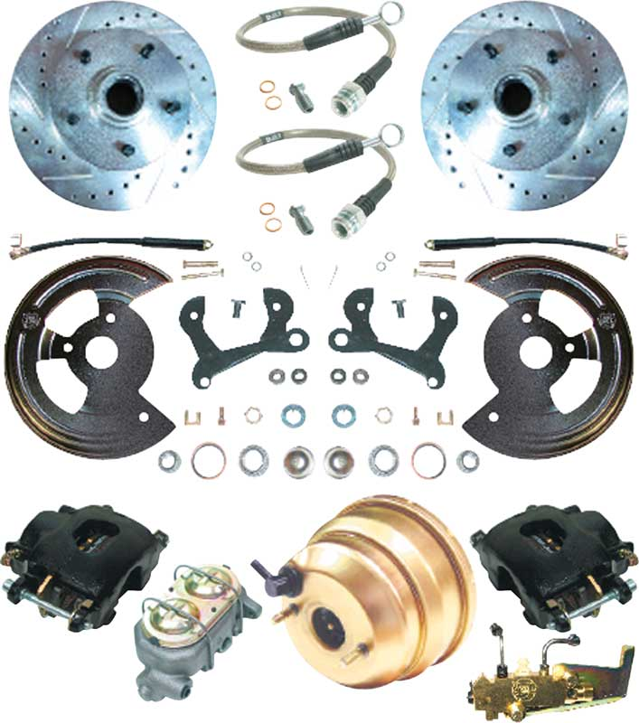 1959-64 Impala / Full Size Front Power Disc Brake Conversion Set with 11 Drilled/Slotted Rotors