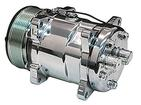 Sanden 508 Rear Exit AC Compressor - Polished Finish With 7-Groove Serpentine Pulley