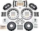 "1970-78 Superlite 6 Front Big Brake Disc Set with 13"" Drilled Rotors, Black Calipers for OE Spindles"