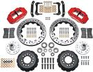 "1970-78 Superlite 6 Front Big Brake Disc Set with 14"" Drilled Rotors, Red Calipers for OE Spindles"