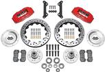 "1970-78 Dynapro 6 Big Front Brakes Disc Spindles 12"" Drilled Rotors/Red Calipers"