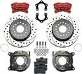 "Wilwood 4-Piston Caliper - Red; 12.19"" Drilled And Slotted Rotors Kit For Dana 60 2.50"" Axle Offset"