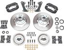 1964-74 Dynalite Pro Series Front Brake Set with Plain Rotors/Black Calipers for Disc/Drum Spindles