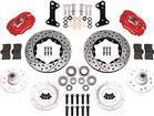 1964-74 Dynalite Pro Series Front Brake Set w/Drilled Rotors / Red Calipers for Disc/Drum Spindles